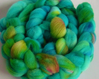 Roving Wool Top Fiber FAIRYLAND on Columbia Top Roving Hand Painted NEW Phat Fiber Feature January Spin Felt Craft 4 ounces