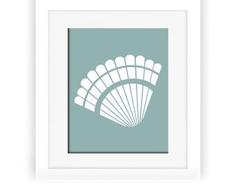 Beach Wall Art, Shell Art Print, Mint Nursery Decor, Printable Artwork, Sea Shell Art, Sea Shell Decor, Beach Art Printable, Mint Art Print