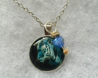 Handmade blue tiger necklace with charm