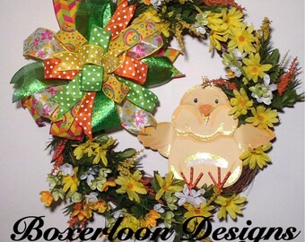 Easter Grapevine Wreath, Easter Chick Wreath, Yellow Easter Chick, Grapevine Easter Wreath,Grapevine Spring Wreath,Ribbon Silk Flower Wreath
