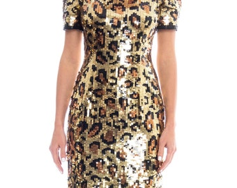 1980s Sequin Leopard Print Mini Dress Size: S/M