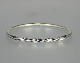 Sterling Silver Bangle - Silver Twist Bangle - Heavy Silver Bangle - Modern Bangle - Simple Sterling Bangle - Stacking Bangle - Thick Bangle