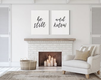 Be Still And Know CANVAS Art / Above Bed Artwork / Bedroom Art / Wedding Anniversary Present / Wedding Gift / Home Decor / Large Sizes