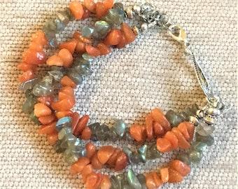 "FREE SHIPPING! Handmade 8"" Red Aventurine and Labradorite Lobster Clasp Bracelet"