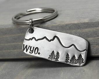 Mountains Key Chain, Wyoming Mountains, Mountain Range Tetons Key Chain Hand Stamped Key Chain, Handstamped Key Chain, Quote Key Chain