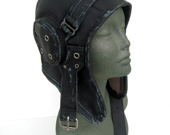 aviator, hat, flight cap, tank girl, leather, distressed, steampunk, costume: Renegade Icon Designs