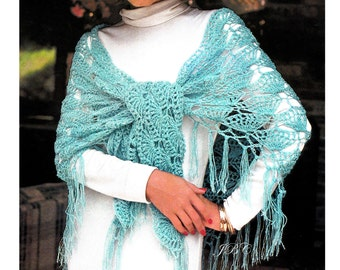 Summer Evening Shawl Crochet Pattern Shell Crochet Pattern Light Wrap Pattern1970s PDF    Instant Download~Vintage ~Scallop MOTIF   SH103