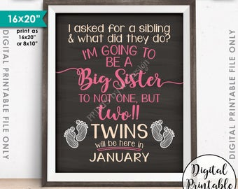 Twins Pregnancy Announcement, Twins, Promoted to Big Sister of Twins due in JANUARY Dated Chalkboard Style PRINTABLE Twins Reveal Sign <ID>