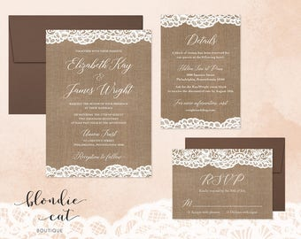 Lace with Burlap Wedding Invitation Suite Digital Download | Rustic Wedding Invitations | Printable Wedding Invitations | DIY Invitations