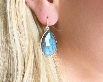 Labradorite Silver Earrings - Gemstone Earrings - Drop Earrings - Silver Earrings - Labradorite Jewelry