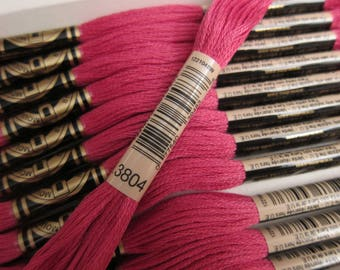 Dark Cyclamen Pink #3804, DMC Cotton Embroidery Floss - 8m/8.7 yd Skeins - Available in Single Skeins, Larger Pkgs and Full (12-skein) Boxes