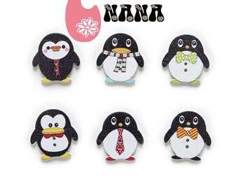 Button Penguin, wooden button, set of 10, fancy button, ornament, sewing, crochet, knitting, craft, DIY