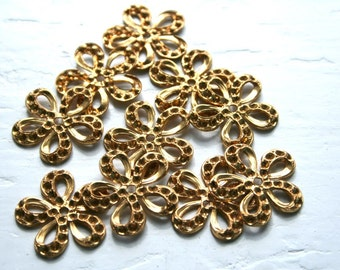 Brass Ornate Flower 5 Petal Jewelry Findings, Package 10