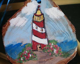 Hand Painted Wood Slice LIGHTHOUSE Ornament