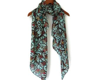 Owl Scarf / Spring Summer scarf / Women Scarves / Infinity Scarves / Mothers Day Gift / Mom Gift / Fashion Accessories / Gifts For Her