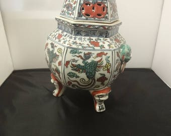 Chinese Ming Style Douria painted large Censer with cover    height=36cm