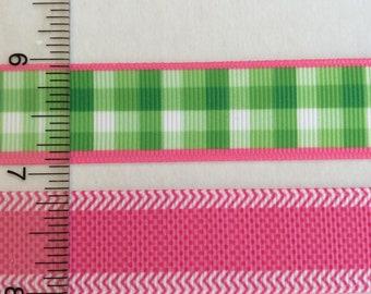 "Preppy plaid stripes dots pink green grosgrain ribbon 7/8"""