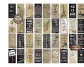 Prohibition Domino Tile Printable ~ Roaring 20s Jewelry Pendant Party Wedding Favor Supply ~ Gatsby Era Black Gold Art Deco ~ Paris, Jazz