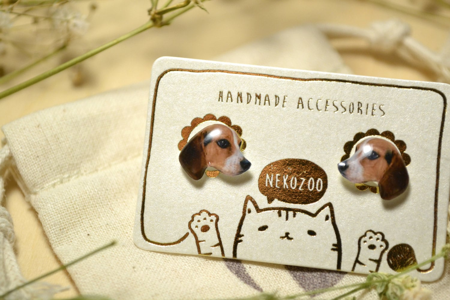Beagle Dog Cute Jewelry Earrings Tiny Jewelry Handmade