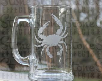 crab beer mug, engraved beer mugs, etched Beer Mug, personalized etched mug, Maryland crab, 16oz. -  Engraved Beer Mug,