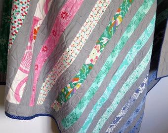 Striped baby quilt, patchwork throw, baby blanket, blue pink striped quilt