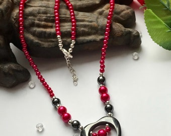 Hematite Necklace, Red and Black Necklace, Red Glass Bead Necklace, Hematite Heart Necklace, Heart Necklace, Red Bead Necklace,