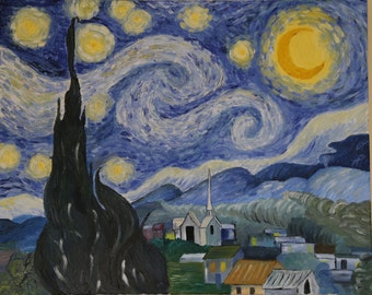 Starry Night by Vincent van Gogh - Oil painting, copy