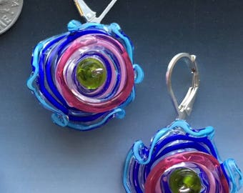Reserved for Darlene - Octopus' Garden Earrings in Cobalt Blue & Pink: handmade glass lampwork beads with sterling silver components