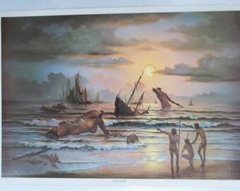 "SALE J. Pitres ""Tomorrow""  1972 Original Vintage Fantasy Poster"