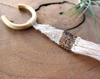 Boho Hand Woven fabric necklace - woven necklace - fiber jewelry - tassel necklace - textile art