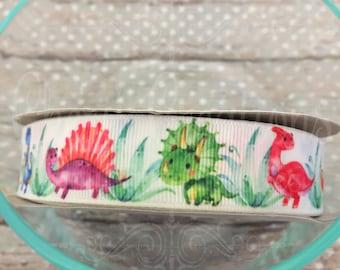 "7/8"" Designer Dinos - Watercolor Ribbon - Cute Dinosaurs - Stegosaurus - Dino - U.S. DESIGNER - High Quality Grosgrain Ribbon - By The Yard"
