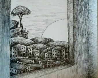 "View From A Wndow,  Pen & Ink Drawing, 11"" x 14"""