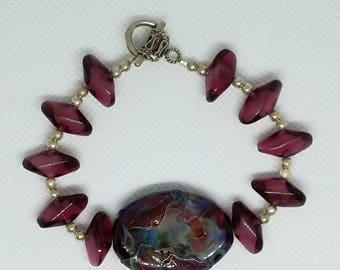 AJs Vintage Cranberry Glass Beads Sterling Silver & Artisan Crafted Silver Shard Lampwork Bead Handmade Bracelet