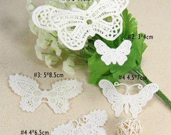 20-30pcs ivory cotton clothes dress butterflies pocket embroidered appliques patches n76uh free ship
