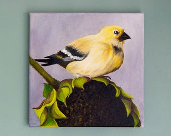 Finch & Sunflower - Original Bird Oil Painting