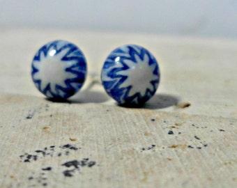 millefiore Earrings - fused glass earrings - millefiore glass post earrings -blue and white starburst - denim blue jewelry -  stud earrings