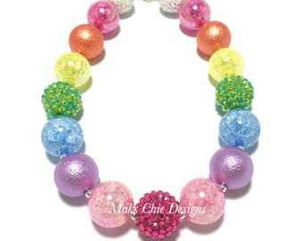 Toddler or Girls Rainbow Chunky Necklace - Pink, Purple, Blue, Lime Green, Yellow and Orange Chunky Necklace - Reverse Rainbow Necklace