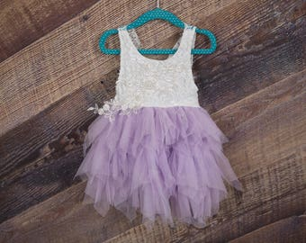 White Lace Flower Girl Dress, Lavender Tulle Wedding dress, White Wedding, Tutu Dress, Boho Chic, Country, Couture, Pearl Bead, Purple