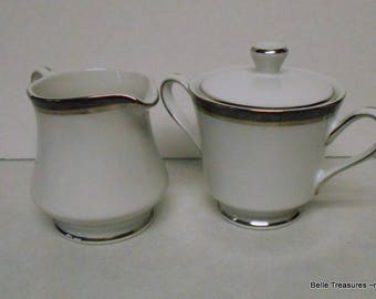 Antique Fashion Royale Creamer & Sugar Bowl Silver Trim
