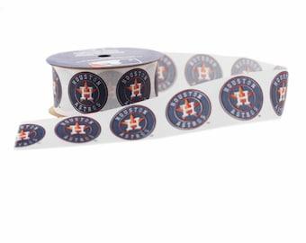 Offray MLB Houston Astros Fabric Ribbon, 1-5/16-Inch by 12-Feet, White/Blue