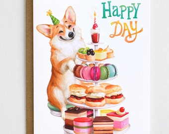 Corgi Birthday Card -  Corgi Card, Dog Birthday Card, Happy Birthday Card, Dog Card, Corgi Lover