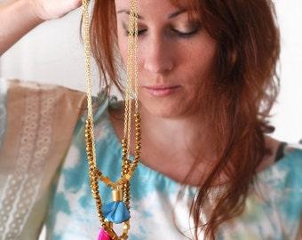 Bib Turquoise Necklace - Tassel Necklace - Tassle Necklace - Statement Fabric Necklace - Geometric Bohemian Jewelry - Free Shipping