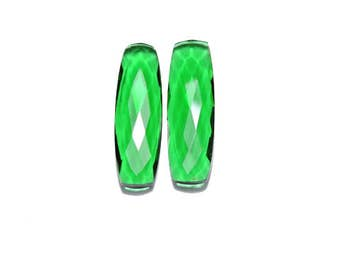 2 Pieces Beautiful Green Quartz Faceted Long Fancy Cusion Loose Gemstone Size 35X10 MM
