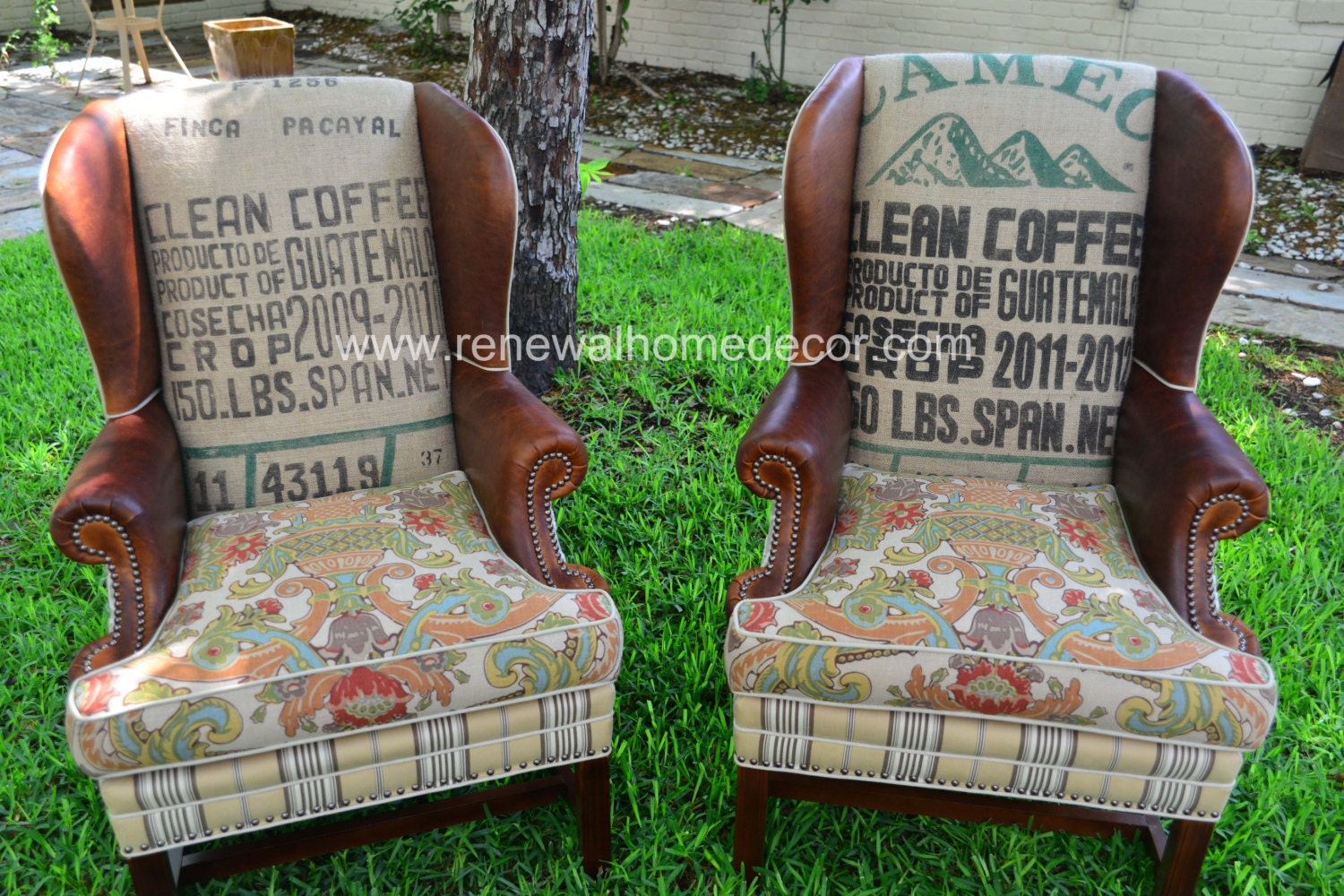 🔎zoom - Custom Order Vintage Upholstered Wing Back Chairs