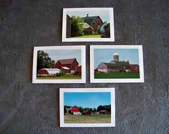 Red Barnstead Medley-set of 4 blank notecards