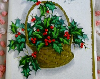 """Vintage MCM 1950's Christmas Greeting Card """"To Grandmother at Christmas"""" Gold Basket Holly Glitter Unused"""