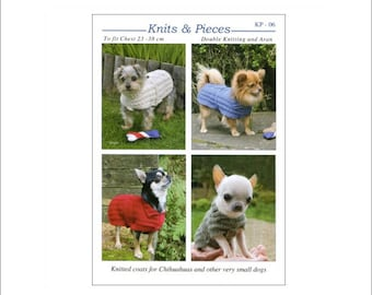 Knitted Coats for Chihuahuas and other small dogs, Knits and Pieces knitting pattern, dog coat, knitted dog coat pattern. UK seller