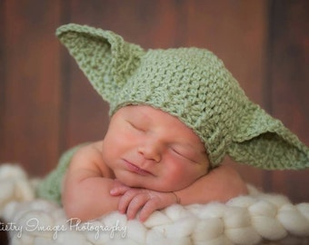 Yoda Hat Star Wars Hat Newborn 0 3m 6m Green Crochet Baby Clothes Boys Girls POPULAR Worldwide Fathers Day Gift Daddies Love This