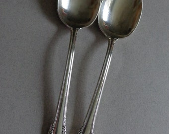 Vintage Remembrance Silverplate Flatware 1847 Rogers IS 2 Tablespoons Serving Spoons Silver Plate Flowers scrolls flatware