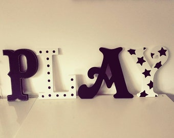 Wooden Letters PLAY, Play Room Decor, Kid's Room, Nursery - wall letters - various colours & finishes, 30cm high